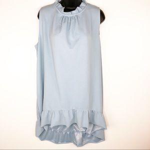 Lane Bryant Blue Ruffle Neck Dress